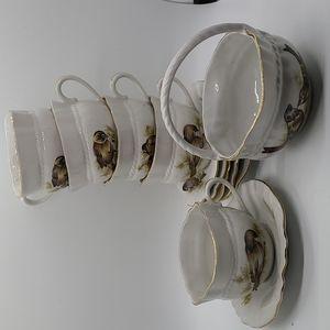 Vintage sparrow tea set